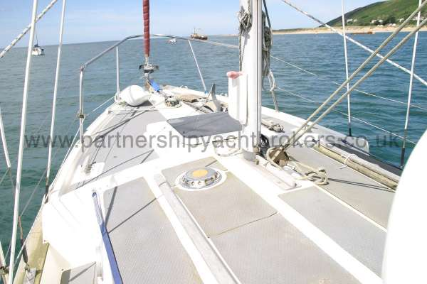 Fisher 25 Deck view looking forward -