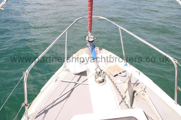 Fisher 25 Fore deck view - The furling gear