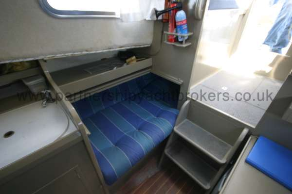 Fisher 25 The starboard quarter berth -