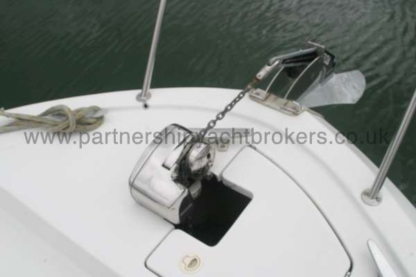 Beneteau Antares 760 Fore deck view - Anchor and windlass