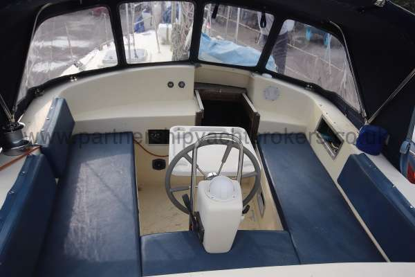 Ocean Cruising Sea Trader  41 ft Yacht Cockpit view - With cushions and table