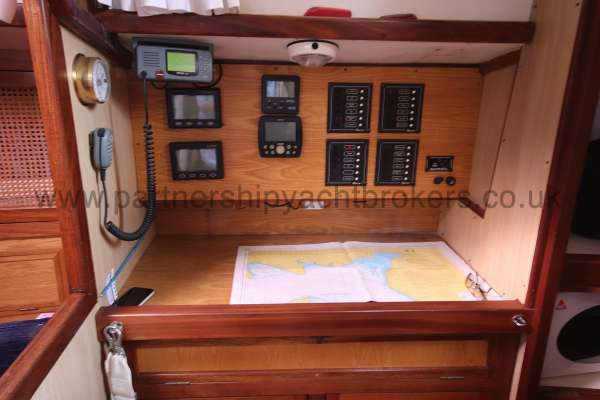 Ocean Cruising Sea Trader  41 ft Yacht Navigation station - Starboard side of the saloon