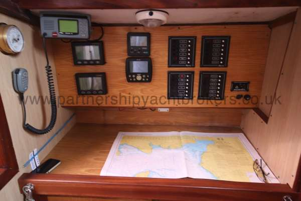 Ocean Cruising Sea Trader  41 ft Yacht Navigation station - With instruments