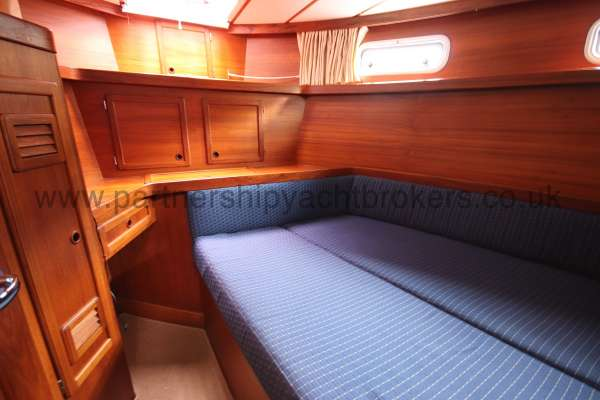 Nauticat 331 Aft cabin - The heads compartment is on the left
