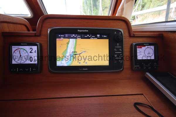 Nauticat 331 Instruments at the inside helm -