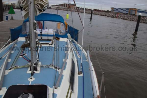 Westerly Merlin Port side deck - Looking aft